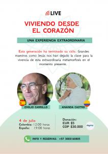 """Conferencia en Linea """"De lo humano a lo divino"""" - Emilio Carrillo y Ananda Castro - Pago por Paypal"""